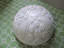 White Milk Glass Embossed Cut Round Serving Bowl Vintage