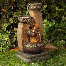 Zen Water Fountain Lighted Waterfall Indoor Outdoor Cascading Garden Patio Decor