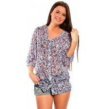 chillytime tendance femmes chemise haut chemisier transparent fleuri gr. 40 NEU