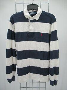 I9297 VTG Men's Polo Ralph Lauren 1/4 Button Down Long Sleeve Rugby Shirt Size M