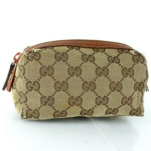 Auth GUCCI GG Pattern Canvas Cosmetic Pouch Purse Light Brown 29596
