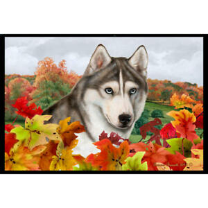 Siberian Husky Fall Leaves Floor Mat