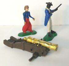 1960's Army Battleground Hard Plastic Black Solider Woman & Cannon Play Set