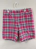 """Lands' End Women's Mid Rise 9"""" Chino Bermuda Shorts 14 Checkered FIT2"""