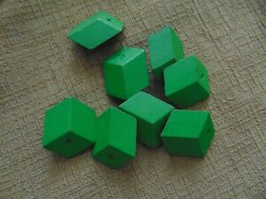 8 Vintage Wood BLOCK Cube Bead green flat craft jewelry