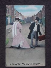 BAMFORTH COMIC, I CAUGHT THE TRAIN Vtg 1908 POSTCARD - MAN STEPPING ON DRESS