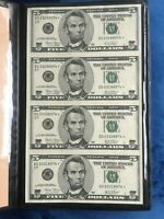 RARE   2003* - Uncut Sheet of 4 $5 Bills - Federal Reserve Notes - Star Notes