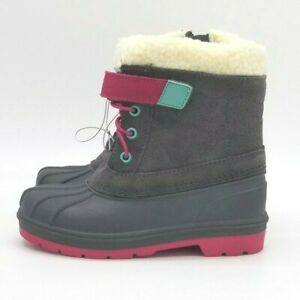 Toddler Girls Cat & Jack Valmai Grey Leather Magenta Thermolite Winter Boots NEW