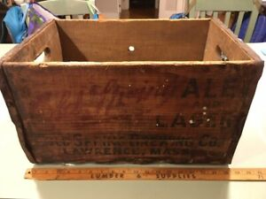 1936 Cold Spring Beer Ale Brewing Co Lawrence MA Wooden Crate Box advertising