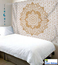 Indian Mandala White Gold Wall Hanging Tapestry Twin Size Bedspread Room Decor