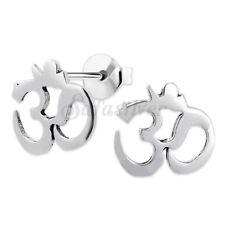 925 Sterling Silver Cartilage Small OM Symbol Ear Stud Earrings