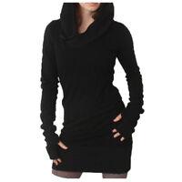 Casual Femmes Sweat Capuche Mini Robe Pull-Over Tricot Haut Moulant Décontracté