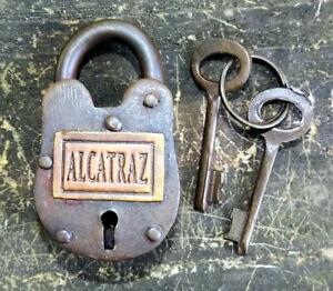 Alcatraz Padlock, vintage style, prison, jail, two keys, lock, boxed