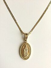 """14K GOLD PLATED GUADALUPE NECKLACE 20"""" / CADENA DE GUADALUPE 20"""" LARGO - 28X18mm"""