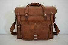 """LARGE 18"""" Real Leather Briefcase Duffle Bag Weekend Travel Luggage Hold-all Bag"""
