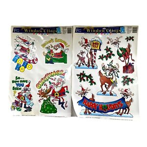 Vintage Christmas Window Clings Santa Reindeer 2 Sheets 1997 Decorations NOS