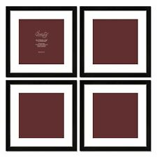 Craig Frames Set of (4) 16x16 Black Picture Frames w/ Matting for 12x12 Photos