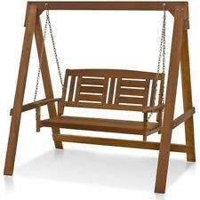 Wood Hanging Swing With Frame Outdoor Patio Furniture Bench Hammock Seat Garden