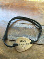 Personalized Date Initials Heart - Antique Distressed Brass Guitar Pick New
