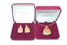 Camrose Kross JBK Red Enamel Gold Damask Faux Pearl Necklace Earring Set RARE