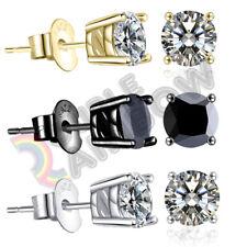 Men Women 3,4,5,6,7,8,10mm Diamond Round#213 925 Sterling Silver Stud Earrings