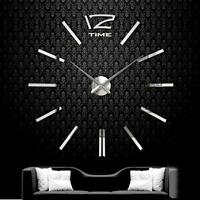 DIY Extra Large Wall Clock 3D Mirror Surface Sticker Living Room Decor Silver MT