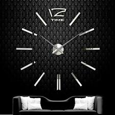 DIY Extra Large Wall Clock 3D Mirror Surface Sticker Living Room Decor Silver TL