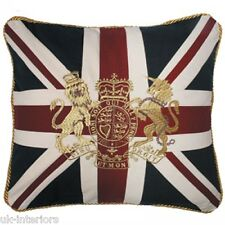 "18"" CROWN & LION UNION JACK UK FLAG Woven Cotton Cushion Royal Crest BRITANNIA"