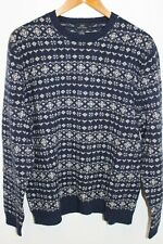 346 BROOKS BROTHERS MENS HOLIDAY PATTERNED KNIT LAMBSWOOL CREWNECK SWEATER LARGE