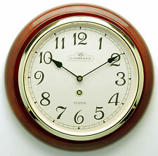 SILENT MOVEMENT SOLID TIMBER WOODEN STATION WALL CLOCK PIANO FINISH 97037A 1.5k