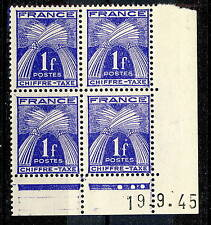 FRANCE - 1945 - 1fr CHIFFRE-TAXE COIN DATÉ du 19.9.45 (3 points blancs) - TB