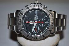 SEIKO Chronograph Watch 7T92-0CJB HR 2 Quartz Unisex Stainless Steel Japan Gents