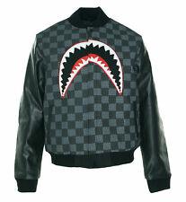 Hudson NYC Men's Faux Leather Shark Mouth Applique Varsity Jacket Black Size XL