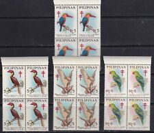 Philippines 1967 Surtax BIRDS, Eagle, Parrot 4 diff values in Block/4 Mint NH