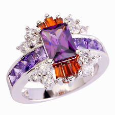 Estate Emerald Cut Amethyst & Garnet AAA Gemstone Nice Silver Ring Sz 7 Jewelry