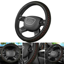 15''/38cm PU leather + ice silk Car Steering Wheel Cover Black+Red  fit Summer