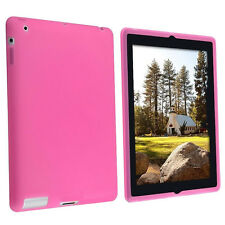 Pink Silicone Soft Rubber Skin Case Cover for iPad 2/3 Protects Scratches Shocks