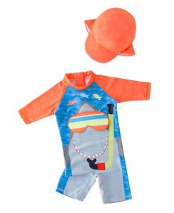 Bilo Baby Kid Boys Chic Animals Printed One-Piece Rash Guard Sun Hat Swimsuit
