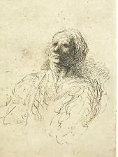 """DAUMIER, study of a head, mounted vintage heliogravure print, 12 x 10"""""""