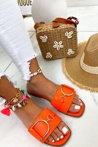 LADIES WOMENS SLIP ON SLIDES MULES BUCKLE SUMMER BEACH HOILDAY SANDALS SHOES SZ