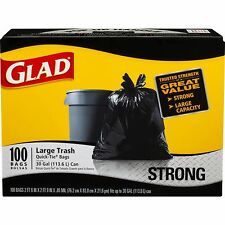 Glad 30 Gallon Strong Quick Tie Large Plastic Trash Bags 100 Count - Black