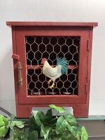 Vintage Rustic Chicken Wood Spice Cabinet Kitchen Decor Holds 12 Spice Bottles