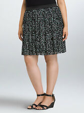 Torrid Heart Chiffon Pleated  Black Gray Skirt Size 3 AKA 3X 22 24 #09524