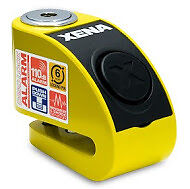 XENA XZZ6L 6MM PIN MOTORBIKE MOTORCYCLE SECURITY SCOOTER DISC LOCK ALARM YELLOW