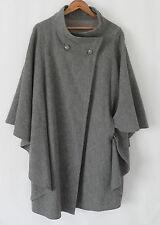 Vtg di Vinci California 100% Wool Cape Grey Pockets Size M/ L