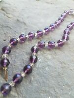 Vintage Purple & Clear MULTI  FACETED  Glass Crystal Beads CHOKER  NECKLACE