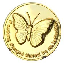 Mariposa/Serenety chip de recuperación de oración AA sobrio Tono Oro Reino Unido 13g peso