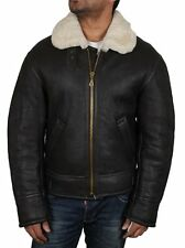 Men Real Shearling Sheepskin Leather Flying Jacket Vintage Men's Aviator Jackets