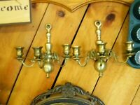 Set OF 2- 3 candle solid VINTAGE BRASS WALL SCONCES ornate with patina