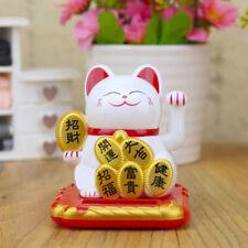 Chat porte-bonheur maneki-neko solaire BLANC patte mobile Feng shui chinois ZEN